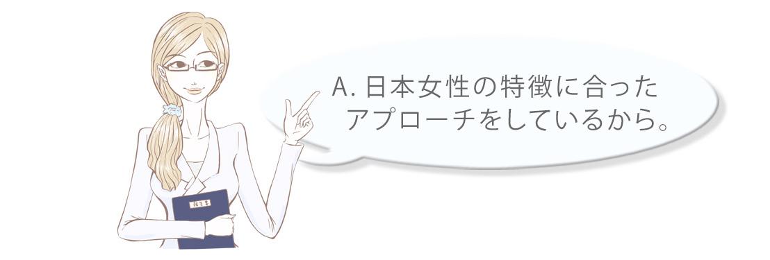 A.日本女性の特徴に合ったアプローチをしているから。